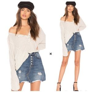 Free People Hong Kong Henley Striped Oversized Top